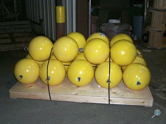 Plastic floats packaged with optional yellow paint