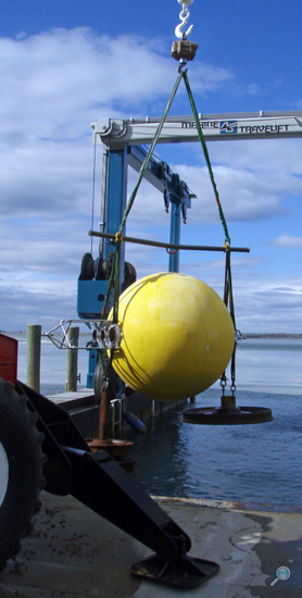 Testing large ADCP buoy for precise mooring calculations
